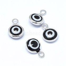 Breloques vernissées de mauvais œil manuelles, avec les accessoires en laiton, plat rond, noir, Platine plaqué réel, 10x6.5x3mm, Trou: 1.5mm(KK-F764-13P-01)