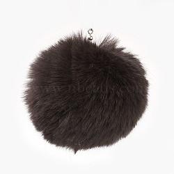 Подвески из искусственного меха кролика в виде помпона с шариками ручной работы, с эластичным волокном, коричневые, 55~74 мм, отверстие : 5 мм(WOVE-F020-A12)