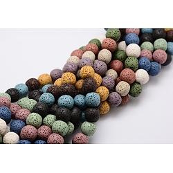lave naturelle brins de perles, teints, arrondir, couleur mélangée, 8 mm, trou: environ 2 mm; sur 52 perle / Chapelet, 15.5(G-L435-03-8mm)
