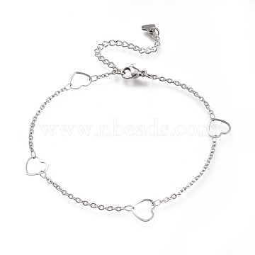 304 Stainless Steel Cable Chain Anklets, with Heart Links and Lobster Claw Clasps, Stainless Steel Color, 8-3/4 inches(22.3cm)(AJEW-M026-01P)