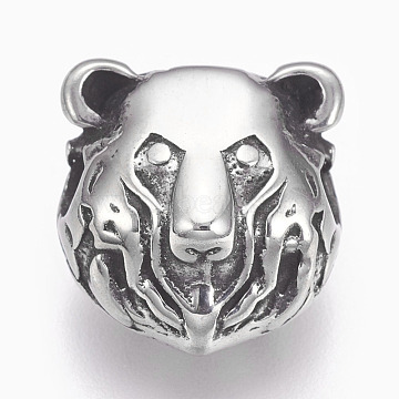 Antique Silver Lion Stainless Steel Beads