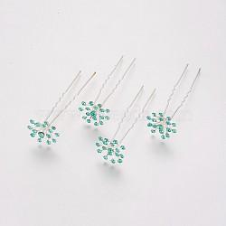 (Дефектная распродажа), женские вилки для волос, с серебристым железом и стразами, цветок, синий циркон, 73 mm(PHAR-XCP0001-D01)