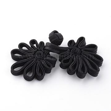 Handmade Chinese Frogs Knots Buttons Sets, Polyester Button, Flower, Black, 68~88x31~34x6~7mm(BUTT-S020-01A)