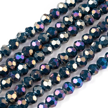 Faceted Round Full Rainbow Plated Electroplate Glass Beads Strands, Marine Blue, 4mm, Hole: 1mm; about 100pcs/strand, 14.9 inches(X-EGLA-J130-FR15)