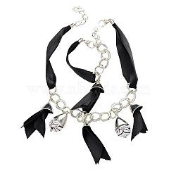 """Style tibétain ensembles de bijoux: colliers et bracelets, avec ruban de satin, Perles vernissées manuelles, chapeaux de perles de plastique ccb et pinces de homard de style tibétain, noir, argent antique, 18.9"""", 230mm(SJEW-PJS068)"""