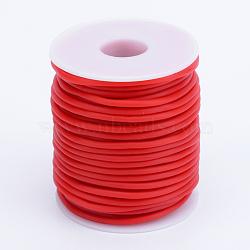Tuyau creux corde en caoutchouc synthétique tubulaire pvc, enroulé aurond de plastique blanc bobine, rouge, 4mm, trou: 2 mm; environ 15 m / rouleau(RCOR-R007-4mm-14)