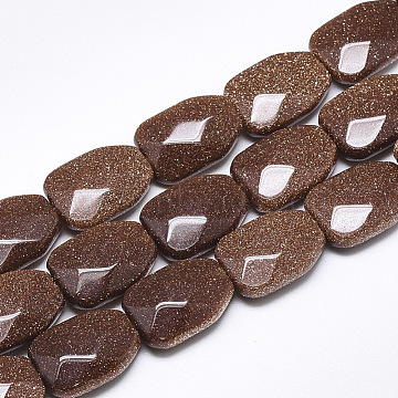 Synthetic Goldstone Beads Strands, Faceted, Calabash, 16~16.5x12x6mm, Hole: 1mm; about 12pcs/strand, 7.8inches(G-T122-01P)