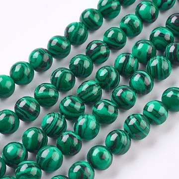 Synthetic Malachite Beads Strands, Round, Dyed, Dark Green, 8mm, Hole: 1mm, about 50pcs/strand, 15.7 inches(40cm)(X-TURQ-P028-04-8mm)