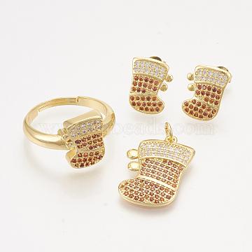 Brass Cubic Zirconia Pendants & Stud Earrings & Adjustable Rings Jewelry Sets, Christmas Socks, Golden, 22x15x2mm, hole: 3mm; 13x10mm, Pin: 0.7mm; Size 8, 18mm(SJEW-S043-08)