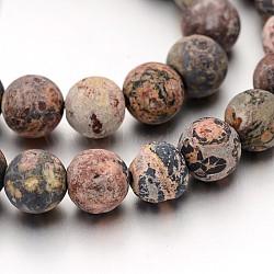 brins de perles de jaspe en peau de léopard naturel givré, 8 mm, trou: 1 mm; environ 47 perle / brin, 15(X-G-J338-07-8mm)