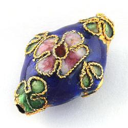 Perles en cloisonné Manuelles, losange, bleu saphir, Longueur 21mm,  largeur de 13 mm, épaisseur de 8mm, Trou: 2mm(CLB082Y-6)