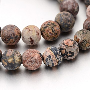 Frosted Round Natural Leopard Skin Jasper Bead Strands, 8mm, Hole: 1mm, about 47pcs/strand, 15 inches(X-G-J338-07-8mm)