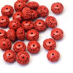 Rondelle Cinnabar Beads, FireBrick, 15~16x9~10mm, Hole: 2mm(X-CARL-Q003-14)