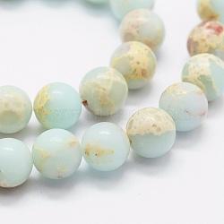 """Brins de perles synthétiques aqua terra jasper, rond, 8mm, trou: 1mm; environ 49 pcs/chapelet, 15.7""""(X-G-K257-03-8mm-1)"""