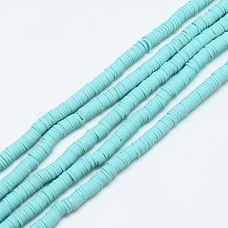 perles heishi en pâte polymère faites main, disque / rond plat, Aqua, 6x0.5~1 mm, trou: 2 mm; environ 320~447 perle / brin, 15.74(X-CLAY-T002-6mm-28)
