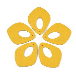 pendentifs environnementaux de peau de vache, losange, or, 50x40x1.5 mm, trou: 1.5 mm(FIND-T045-28G)