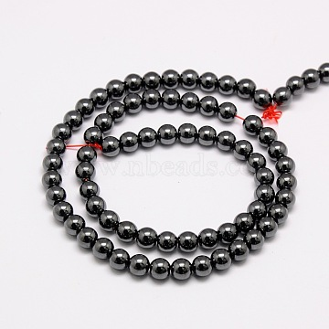 Non-magnetic Synthetic Hematite Beads Strands, Round, Grade AAA, Black, 4mm, Hole: 0.8mm; about 101pcs/strand, 16inches(X-G-E133-2C)