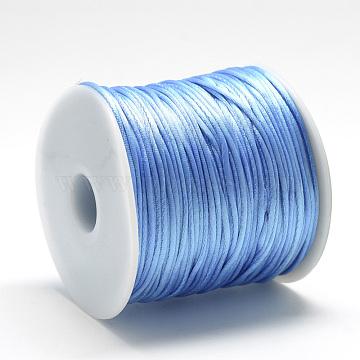 Nylon Thread, Rattail Satin Cord, Light Sky Blue, 2.5mm, about 38.27 yards(35m)/roll(NWIR-Q010B-365)