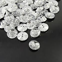boutons en strass acrylique, 2-trou, facettes et dos plaqué argent, plat rond, effacer, 18x6 mm, trou: 1.5 mm(BUTT-A013-28L-01)