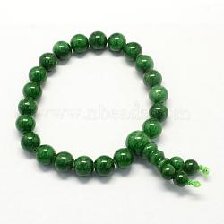 Будда медитация желтый нефрит бисером стрейч браслеты, темно-зеленые, 50 мм; 21 шт / прядь(BJEW-R041-8mm-02)