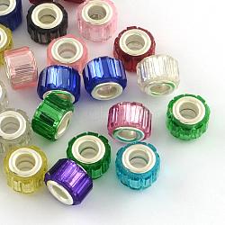 Perles européennes en alliage, laiton avec ton argent noyaux doubles, rond, couleur mixte, 11x8mm, Trou: 5mm(RPDL-R004-M)