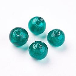 Perles en verre d'argent feuille manuelles, rond, sarcelle, environ 10 mm de diamètre, Trou: 1.5mm(X-SLR10MM22Y)