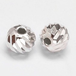 Fancy Cut Faceted Round 925 Sterling Silver Beads, Silver, 8mm, Hole: 1.5mm; about 44pcs/20g(STER-F012-11D)