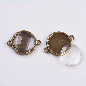 DIY Links Making, with Alloy Cabochon Connector Settings and Clear Glass Cabochons, Flat Round, Antique Bronze, Connector Setting: 25x19x3mm, Hole: 1.5mm; Glass Cabochon: 15.5~16x4~5mm(DIY-X0292-39AB)