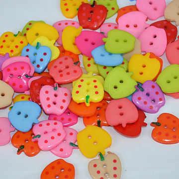 Multicolored Apple Shape Buttons, ABS Plastic Button, Mixed Color, about 23mm in diameter, hole: 2mm, about 200pcs/bag(NNA0VCW)