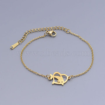 201 Stainless Steel Link Bracelets, with Lobster Claw Clasps, Dolphin with Heart, Golden, 6-1/2 inches~6-3/4 inches(16.6~17.1cm)(BJEW-T011-JN482-2)