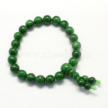 Buddha Meditation Yellow Jade Beaded Stretch Bracelets, DarkGreen, 50mm; 21pcs/strand(BJEW-R041-8mm-02)
