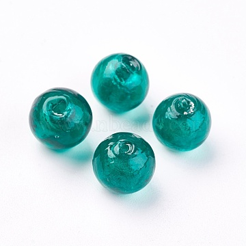 Handmade Silver Foil Glass Beads, Round, Teal, about 10mm in diameter, hole: 1.5mm(X-SLR10MM22Y)