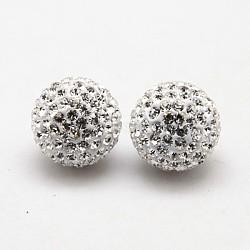 Clous d'oreilles en argent sterling avec strass en cristal autrichien, avec des noix de l'oreille, rond, 001 _crystal, 12mm, pin: 0.8 mm(SWARJ-D470-001)