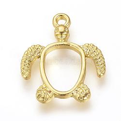 pendentifs lunette ouvert en alliage, pour diy uv résine, une résine époxy, Bijoux à fleurs pressées, tortue, or, 21.5x18.5x2.5 mm, trou: 2 mm(X-PALLOY-R098-62G)