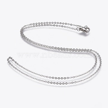 304 Stainless Steel Cable Chain Necklaces, with 304 Stainless Steel Clasps, Stainless Steel Color, 19.7 inches(50cm), 1.5mm(NJEW-F248-23B-P)