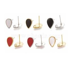 Accessoires de boucle d'oreille en laiton, avec émail et boucle, larme, couleur mixte, 12x8mm, trou: 1.2 mm; broches: 0.7 mm(X-KK-S345-268-M)