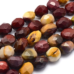 """Chapelets de perles en mookaite naturelles, ovale, facette, 12~15x11~12x7~9mm, trou: 1mm; environ 34 pcs/chapelet, 14.9"""" (38 cm)(G-O170-26)"""
