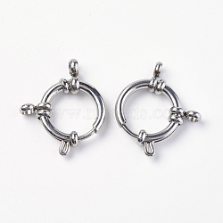304 пружинные кольца из нержавеющей стали с гладкой поверхностью, нержавеющая сталь цвет, 19x17x4 mm, отверстия: 3 mm(STAS-O114-003B-P)