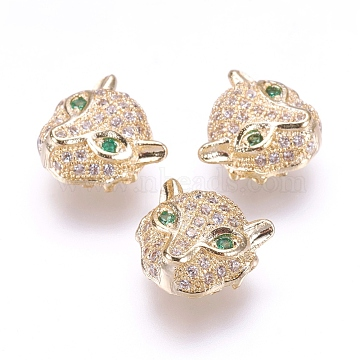 Brass Micro Pave Cubic Zirconia Beads, Leopard, Real 18K Gold Plated, 11x11.5x5.5mm, Hole: 1mm(X-ZIRC-F061-01G)