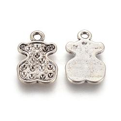 Ours alliage supports pendentif en strass, sans plomb et sans cadmium, couleur argent antique, 19.5x13x1.5mm, Trou: 1mm(EAA254Y)