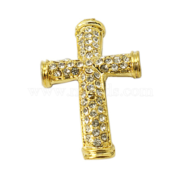 Alloy Rhinestone Beads, Grade A, Lead Free, Cross, Golden Metal Color, Crystal, 38x24x4mm, Hole: 4mm(X-RB-G117-01G-LF)