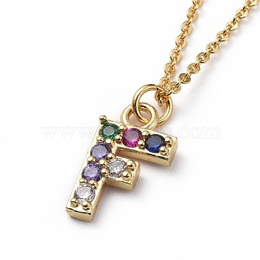 Letter Brass Micro Pave Cubic Zirconia Initial Pendants Necklaces(NJEW-JN02585-06)-2