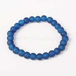 Bracelets extensibles pour enfants en verre dépoli pour la journée des enfants, bleu royal, 42mm(BJEW-JB01768-04)