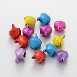 Iron Pendants, Bell Shape, Nice For Christmas Day Decoration, Mixed Color, about 8x10mm, hole: about 1.5mm(X-E197)
