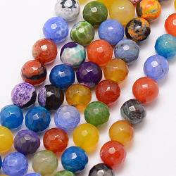 Natural Fire Agate Bead Strands, Round, Grade A, Faceted, Dyed & Heated, Colorful, 10mm, Hole: 1mm; about 37pcs/strand, 15inches