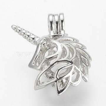Alloy Diffuser Locket Pendants, Cage Pendants, Unicorn, Platinum, 25.5x23x10.5mm, Hole: 3.5x4.5mm; inner measure: 8.5mm(X-PALLOY-S062-22)