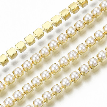 Brass Claw Chains, with ABS Plastic Imitation Pearl Beads, with Spool, Golden, SS12, 3~3.2mm, about 10yards/roll(9.14m/roll)(CHC-Q012-SS12-01G)