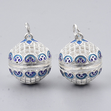 Rack Plating Brass Cage Pendants, For Chime Ball Pendant Necklaces Making, with Enamel and Iron Jump Rings, Hollow Round with Flower, Silver Color Plated, 21.5x18x20.5mm, Hole: 4mm, inner measure: 15.5mm(KK-T053-02S)
