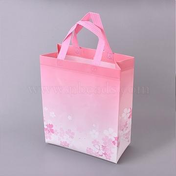Gloss Lamination Printing Eco-Friendly Reusable Bags, Non Woven Fabric Shopping Bags, Handle Random Color, Flamingo, 26.75x12.55x32.9cm(ABAG-L004-T03)