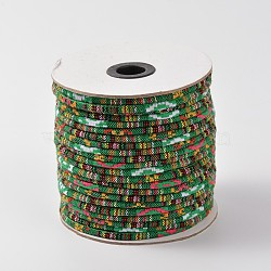 Cordes ethniques en tissu, verte, 4 mm; environ 50 mètres / rouleau (150 pieds / rouleau)(OCOR-F003-4mm-06)